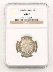 1908 Great Britain Shilling Silver Coin Ms-61 Ngc Edward Vii England Km800