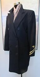 Blue Label Navy Wool Military Jacket 3/4 Length Usa Size 8 Mint
