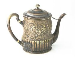 1875-1891 And Co Makers Silver Soldered Tea Pot American Repousse 8358