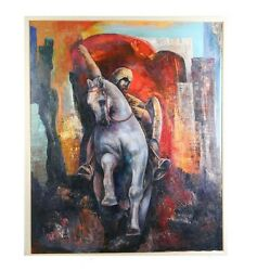 Untitled Equestrian Oil On Canvas Signed Nebojsa 39 X 47 Great Condition