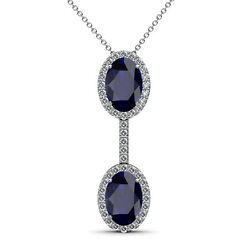 Oval Blue Sapphire And Diamond Halo Pendant 2.40 Carat Tw In 14k Gold Jp109944
