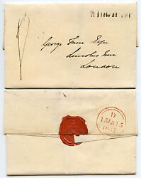 Gb Kent 1831 Wingham Provincial Post Mileage Straight Line On Wrapper + Seal
