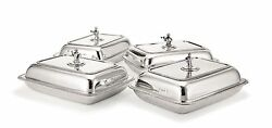 A SET OF FOUR GEORGIAN SCOTTISH STERLING SILVER ENTREE DISHES RARE