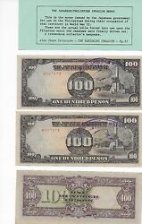 2 Consecutive The Japanese Government 100 Pesos Occupation Safe Keeping Stamp