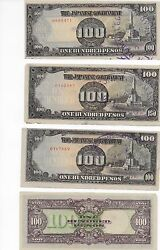 Japanese Government 100 Pesos Philippine Occupation Note With Safe Keeping Stamp