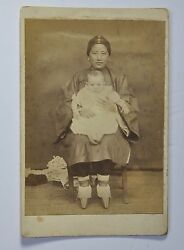 Antique Photo Chinese China Woman Traditional Dress Lotus Shoes Albumen 1890 5
