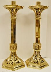 Pair Vintage Ornate Brass Traditional Gothic Altar Candlesticks + 24 Ht. 1014