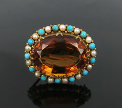 Victorian 30ct Natural Citrine Pearls And Turquoise 14k Yellow Gold Oval Pin