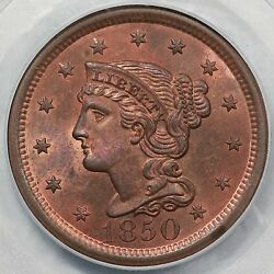 1850 N-21 Pcgs Ms 64 Rb Scarce Eds Braided Hair Large Cent Coin 1c