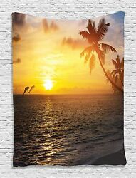 Ocean Dolphins Sunset Tapestry Wall Hanging for Living Room Bedroom Dorm Decor