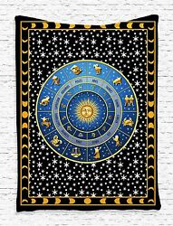 Zodiac Calendar and Sun Tapestry Wall Hanging for Living Room Bedroom Dorm Decor