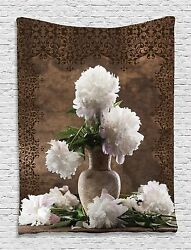 Peonies Flowers Floral Tapestry Wall Hanging for Living Room Bedroom Dorm Decor