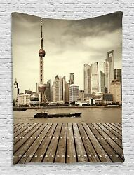 Shanghai Pudong City Tapestry Wall Hanging for Living Room Bedroom Dorm Decor
