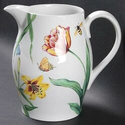 New Spode For Williams Sonoma English Floral 7.5 Tall Pitcher 58 Oz Rare 2006