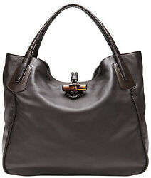 NWT GUCCI $3300 WOMENS LARGE SOFT DEER LEATHER HIP BAMBOO PURSE TOTE BAG