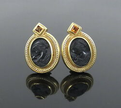 Vintage 0.60ct Citrine And Onyx Cameo 18k Yellow Gold Earrings