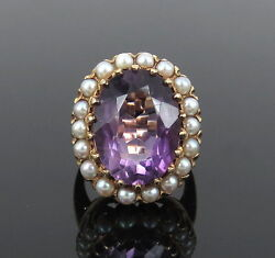 Vintage 15.0ct Amethyst And Seed Pearl 14k Yellow Gold Cocktail Ring