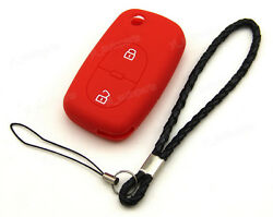 Red Silicone Case Cover For Audi A4 A6 A8 S4 TT Remote Flip Key 2 Buttons AD2RE
