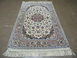 4and039 X 6and039 Very Fine Hand Made Oriental Wool Silk Accent Rug Hand Knotted Beauty