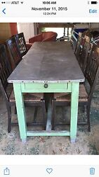 Antique Zinc Top Table With Six Italian Made Chairs