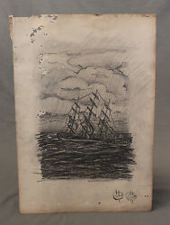 19th Century Pencil Sketch Tall Ship In A Storm
