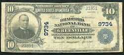 1902 10 The Bradford National Bank Of Greenville, Il National Currency Ch 9734