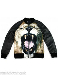 Sons Of Heroes Menand039s Lion Silk And Leather Bomber Jacket Black Shjk002