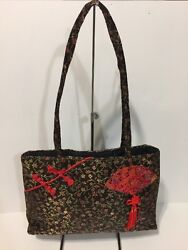 Brown Fabric Shoulder Tote Bag With Chinese Design Thin Profile