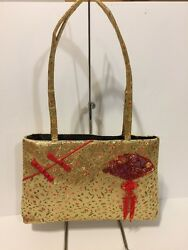 Gold Fabric Shoulder Tote Bag With Chinese Design Thin Profile