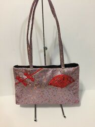 Purple Fabric Shoulder Tote Bag With Chinese Design Thin Profile