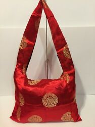 Red Fabric Shoulder Tote Bag Chinese Design Thin Profile