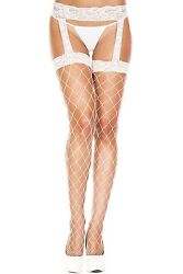 White Fence Net Lace Top Faux Stockings + Suspender Tights Sexy Lingerie P7994