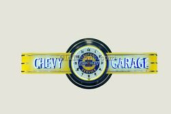 Chevy Garage Neon Clock Sign - 6' Long - Made In Usa Chevrolet Gas Oil Sign
