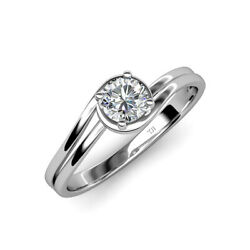 Diamond Bypass Womens Solitaire Engagement Ring 0.63 Ct 14k White Gold Jp112845