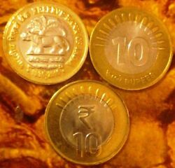 India-republic 10 Rupees, 2010, Rbi, 75th Anniversary Info Tech And Sun Rays 3 Co