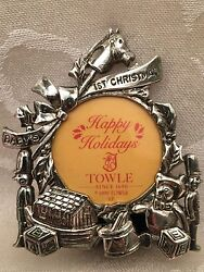 Towle Baby's First Christmas 1st Silver Christmas Ornament Picture Frame Vintage