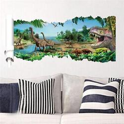 3D View Dinosaur Kids Room Decor Jurassic Park Wall Sticker Decal Mural PVC USA $14.99