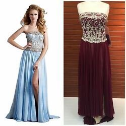 NWT TERANI COUTURE GL2301 PAGENT STRAPLESS GOWN EMBLISHED TOP FLOWY SKIRT $899