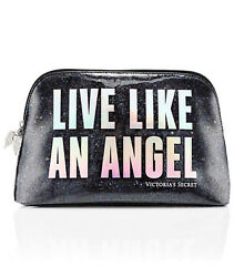 NWT VICTORIA#x27;S SECRET LIVE LIKE AN ANGEL GLITTER BLACK MAKEUP COSMETIC VINYL BAG $19.95