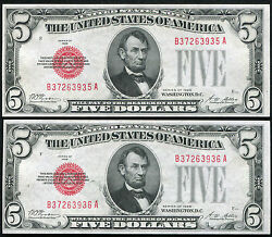 2 Consecutive 1928 5 Red Seal Legal Tender United States Notes Unc
