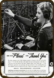 1937 BELL TELEPHONE WOMAN SWITCHBOARD OPERATOR Vintage Look Replica Metal Sign