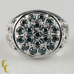 10k White Gold Blue Diamond Plaque Ring Size 9.5 - Great Gift