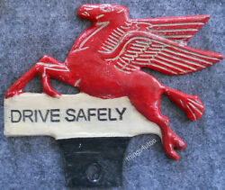 Mobil Oil Flying Horse Painted License Plate Topper