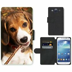 Phone Card Slot PU Leather Wallet Case For Samsung Beagle puppy chewing branch