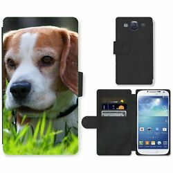 Phone Card Slot PU Leather Wallet Case For Samsung Beagle puppy in high grass