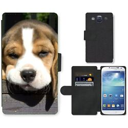 Phone Card Slot PU Leather Wallet Case For Samsung Beagle puppy is sad