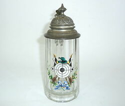 Glass Jug with Tin Outfit um 1900 Beer Stein Jug Hunter Shooting Target
