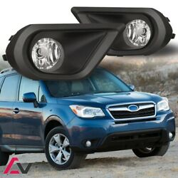 14-16 For Subaru Forester Clear Lens Pair Fog Light Lamp+wiring+switch Kit