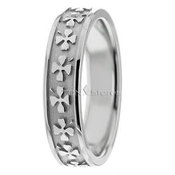 18k Womens Solid Gold Clover Celtic Wedding Bands Rings Comfort Fit Womens Rings