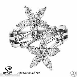 Two Flowers Diamond Ring 1.68 Ct Round And Marquise Diamonds In 18k White Gold